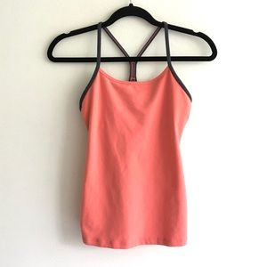 LULULEMON Power Y Tank Coral With Grey Trim 6